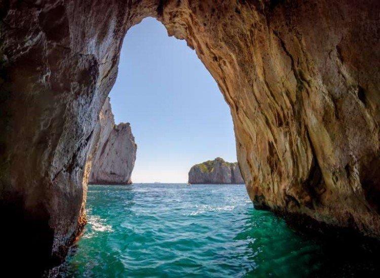 Морски и тропически-Фототапет Синя пещера на остров Капри
