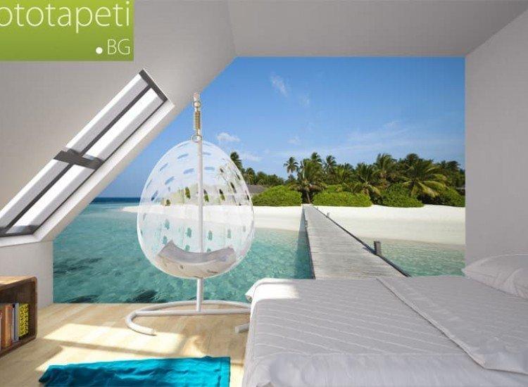 Морски и тропически-Фототапет Дървен понтон към райски плаж