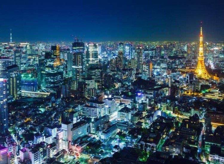 Градски пейзажи-Фототапет Токио през нощта