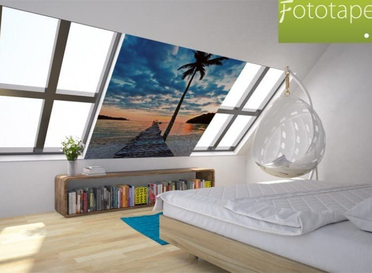 Морски и тропически-Фототапет Плаж с палма и кей