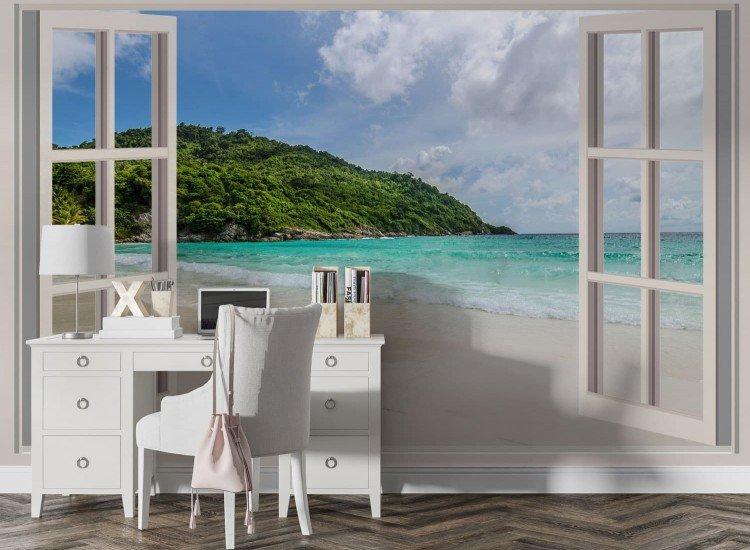 Фототапет Прозорец с изглед към морето