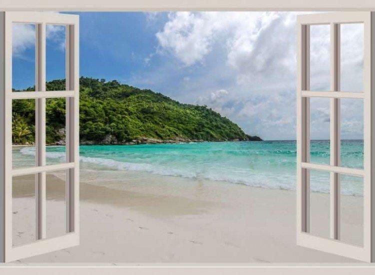Морски и тропически-Фототапет Прозорец с изглед към морето