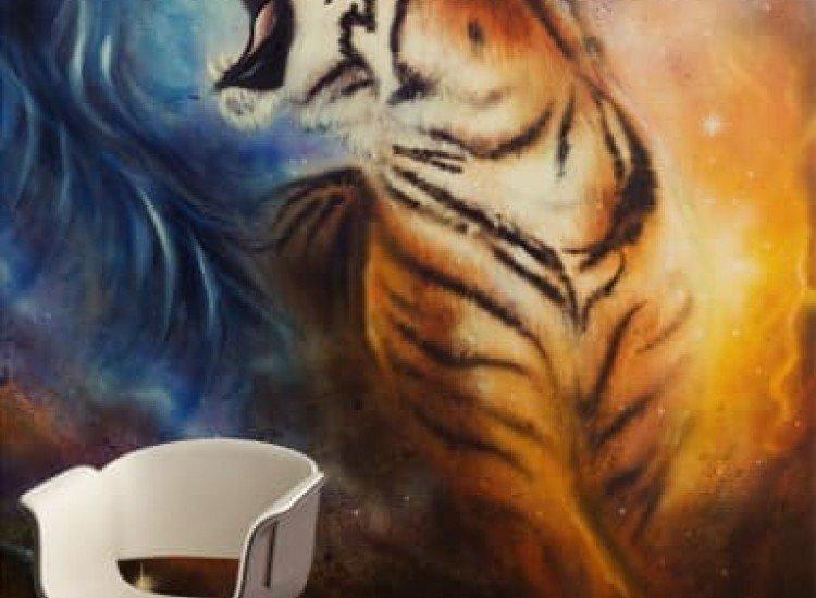 Животни и дива природа-Фототапет Рисунка на тигър с аерограф