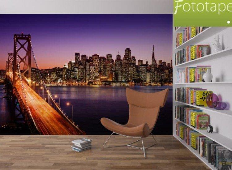 Градски пейзажи-Фототапет Залез над Бей Бридж