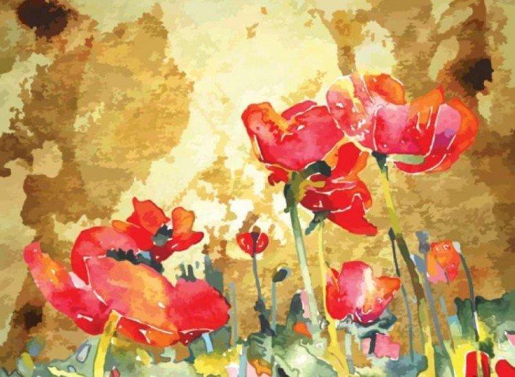 Цветя-Фототапет Макове на златен фон