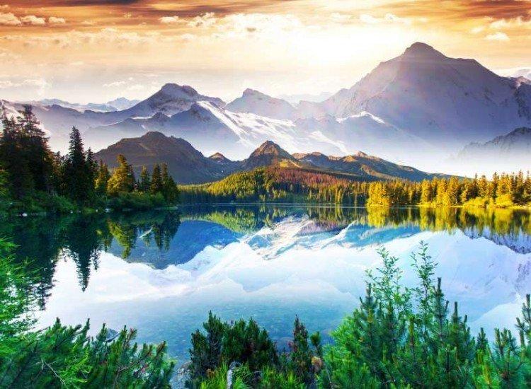 Пейзажи и природа-Фототапет Слънчев ден край езерото