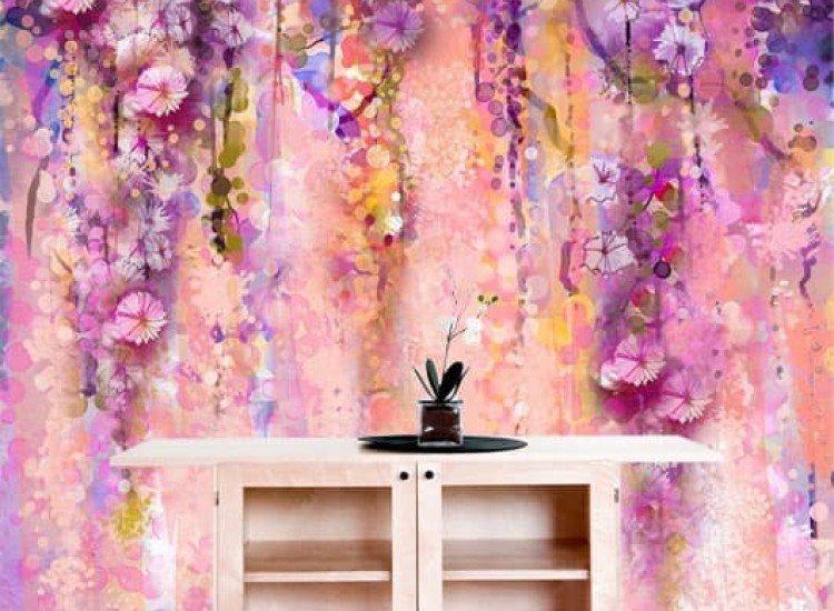 Цветя-Фототапет Абстрактни розови и виолетови цветя