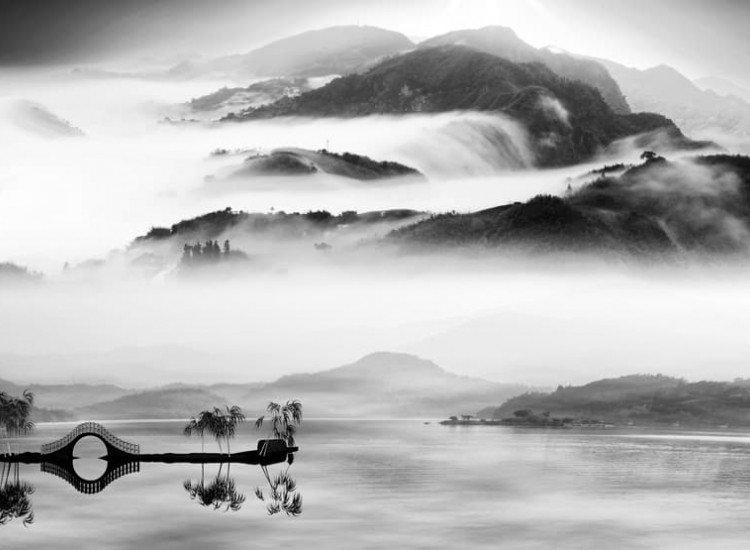 Черно-бели фототапети-Фототапет Китайски пейзаж