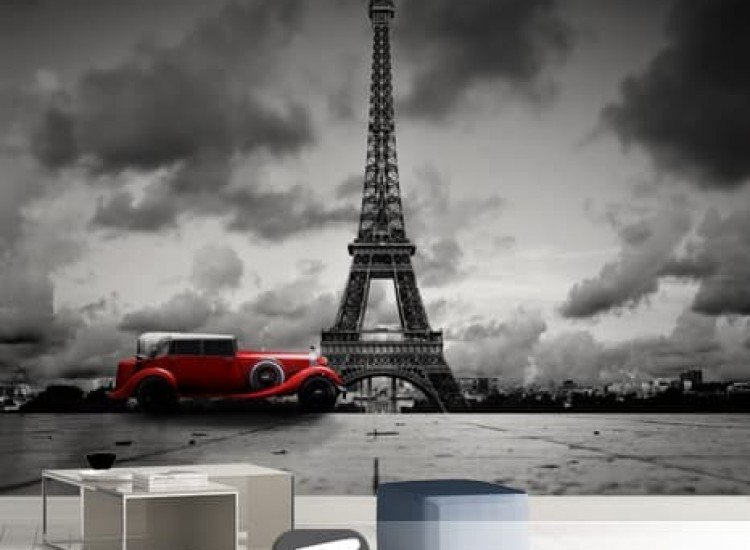 Автомобили и транспорт-Фототапет Ретро автомобил в Париж