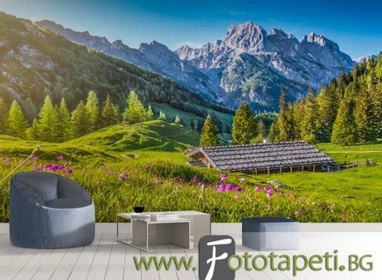 Пейзажи и природа-Фототапет Планинска хижа в Алпите