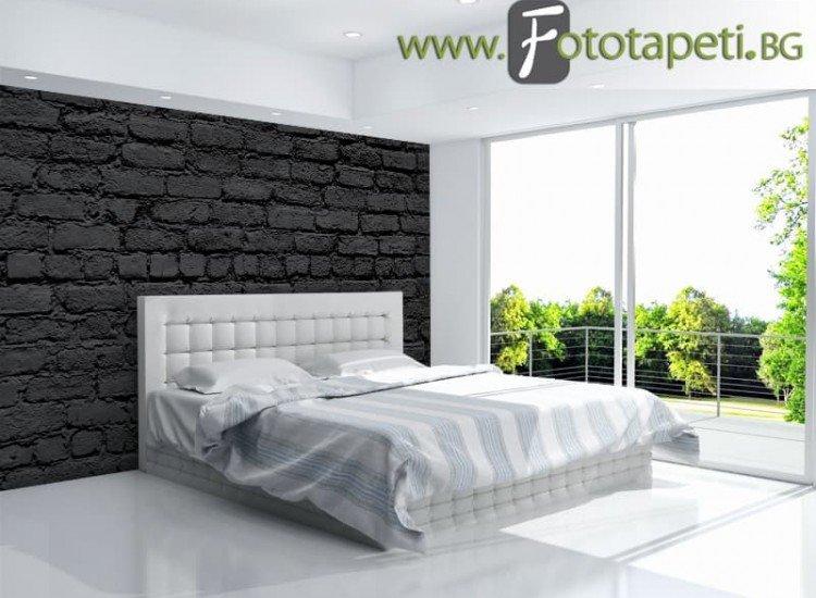 Текстури-Фототапет Черна тухлена стена