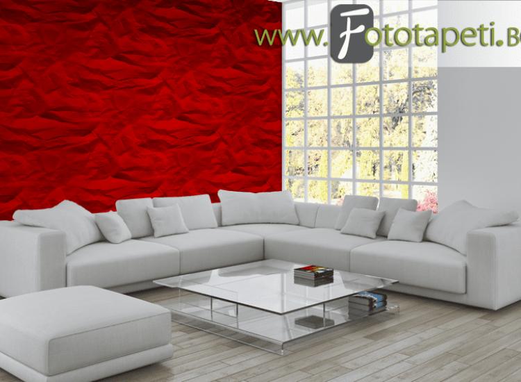 Текстури-Фототапет Червена намачкана хартия
