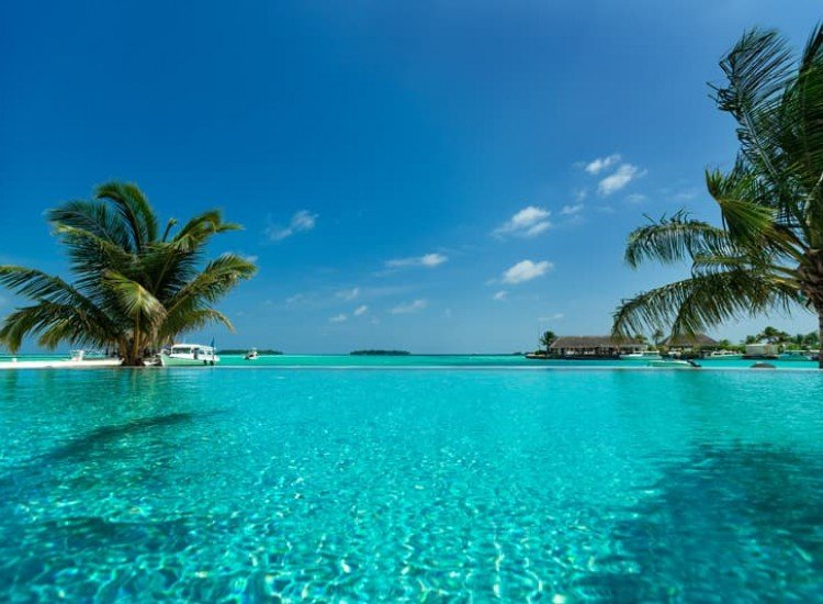 Морски и тропически-Фототапет Тропически плаж и басейн