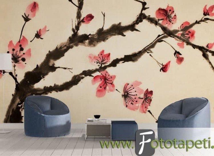 Цветя-Фототапет Рисунка с цвят череша