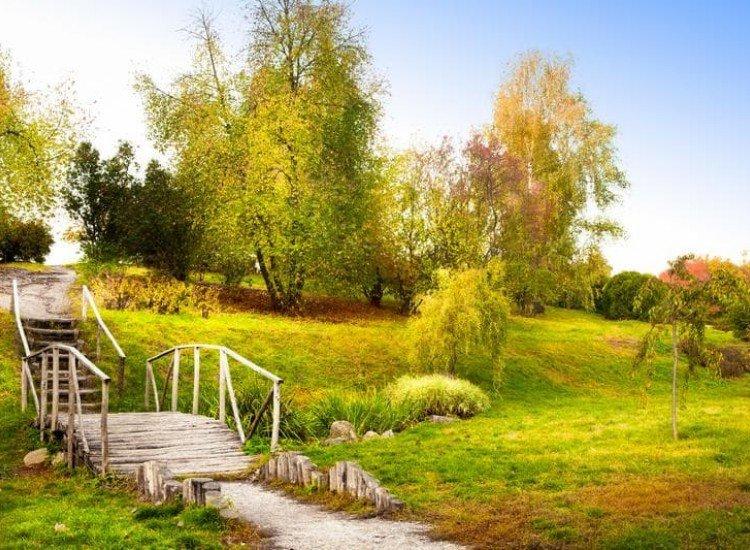Пейзажи и природа-Фототапет Дървен мост през есента