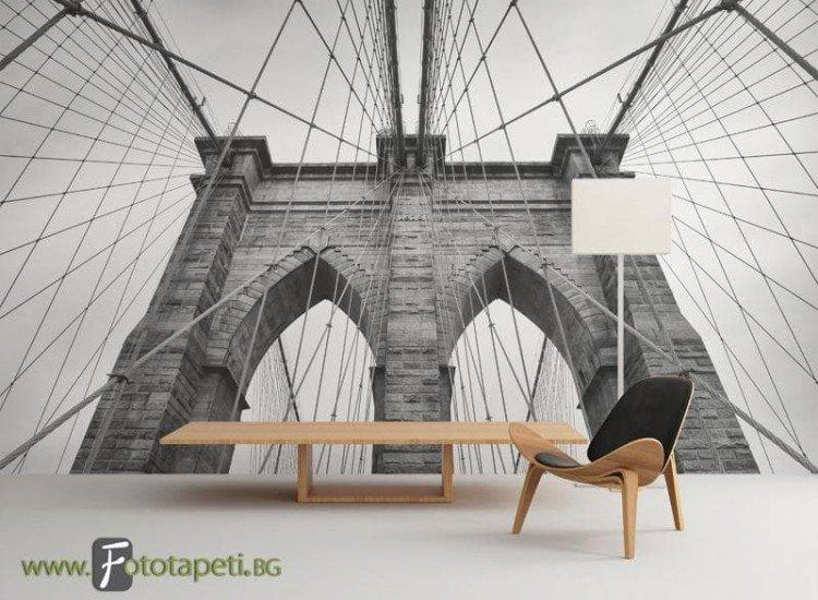 Сгради и забележителности-Фототапет Бруклински мост ЧБ