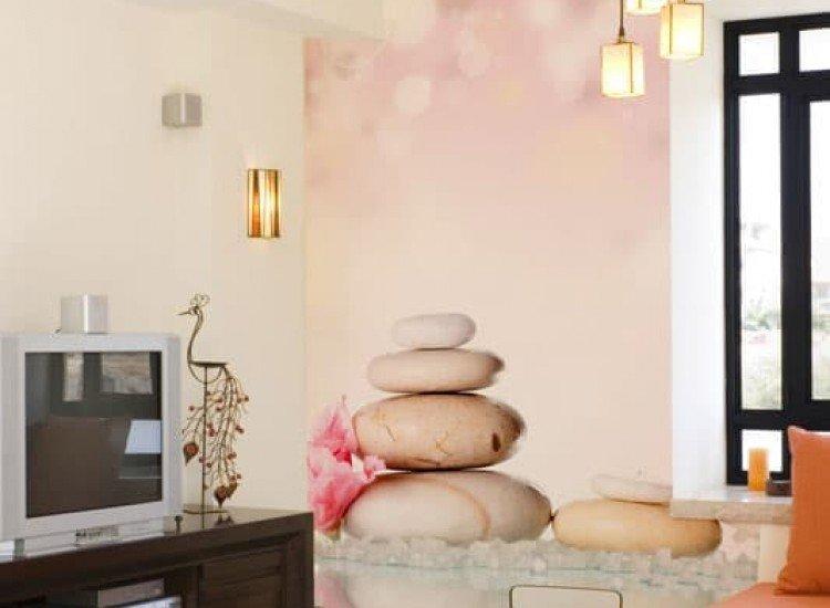 Зен фототапети-Фототапет Спа камъни и розово цвете