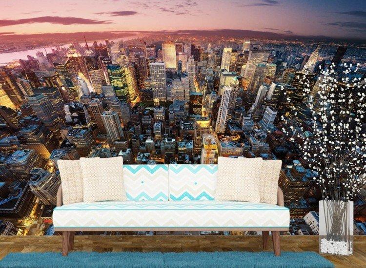 Градски пейзажи-Фототапет Манхатън през нощта