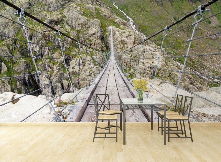 Пейзажи и природа-Фототапет Висящ мост в Алпите