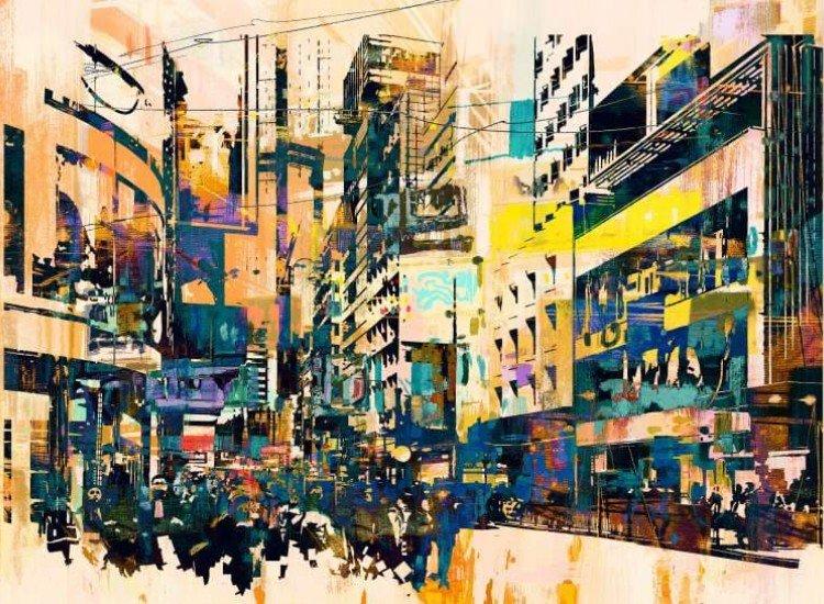 Тийн-Фототапет Абстрактна градска илюстрация