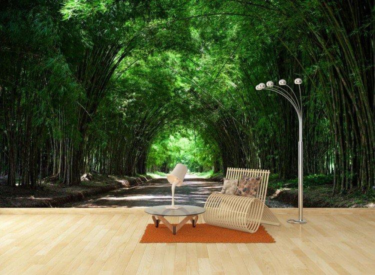 Пейзажи и природа-Фототапет Тунел между бамбукови дървета