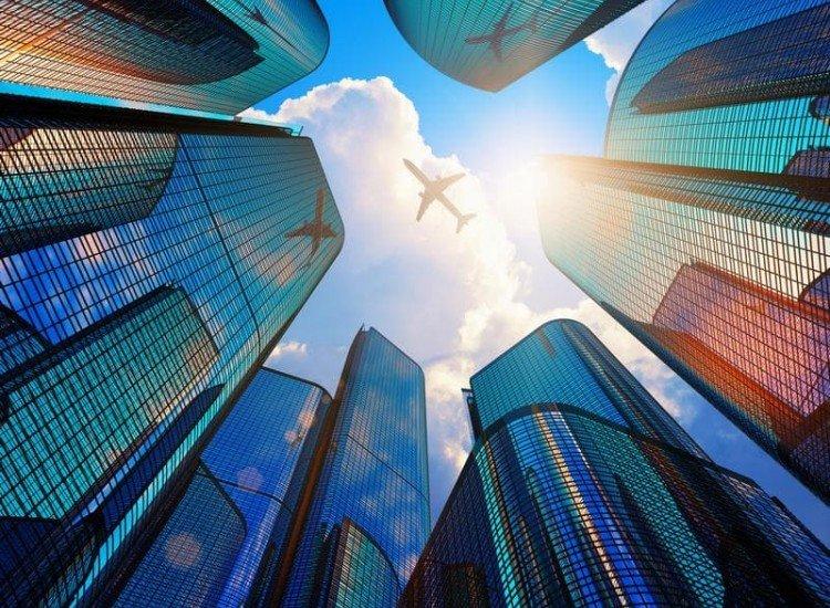 Автомобили и транспорт-Фототапет Отразяващи небостъргачи