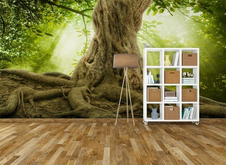 Пейзажи и природа-Фототапет Голямо дърво с корени