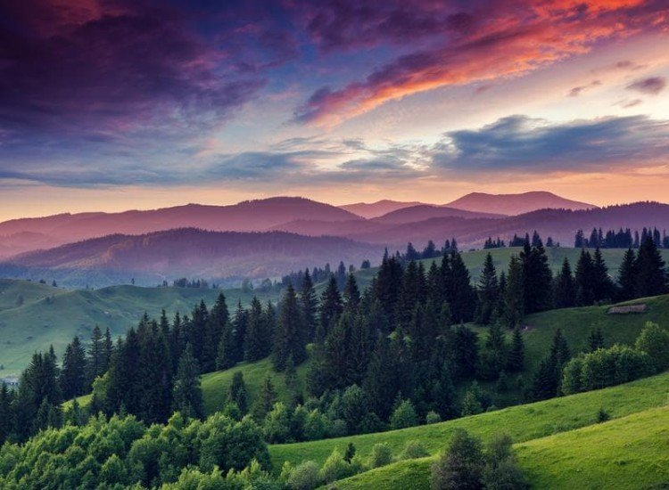 Пейзажи и природа-Фототапет Залез в Карпатите, Украйна