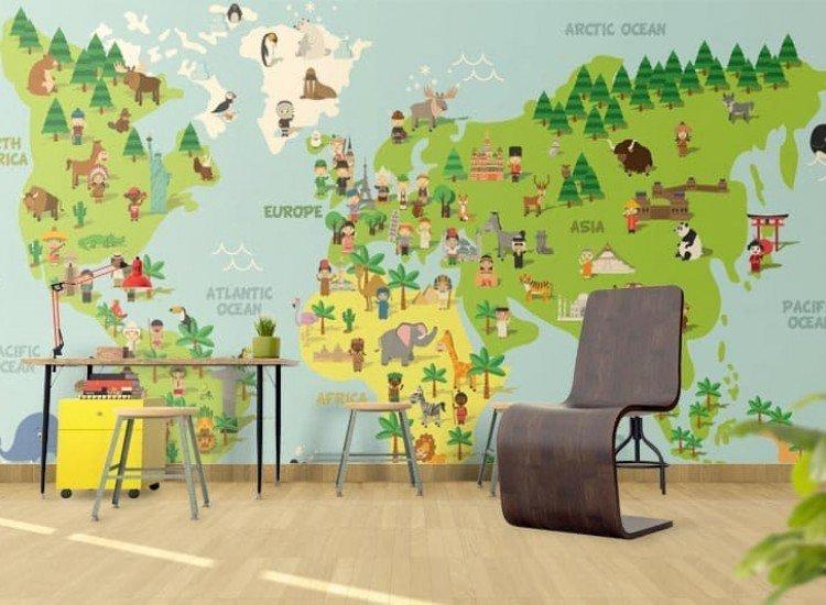 Детски фототапети-Фототапет Анимационна карта на света