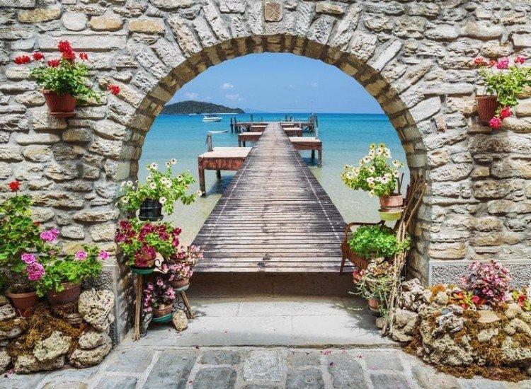 Морски и тропически-Фототапет Каменна арка в Италия