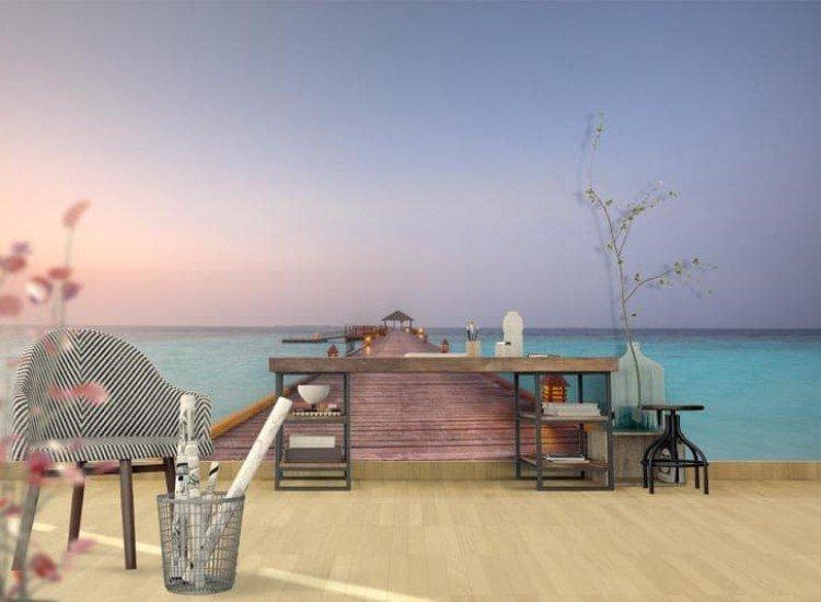 Морски и тропически-Фототапет Дървен кей в Малдивите