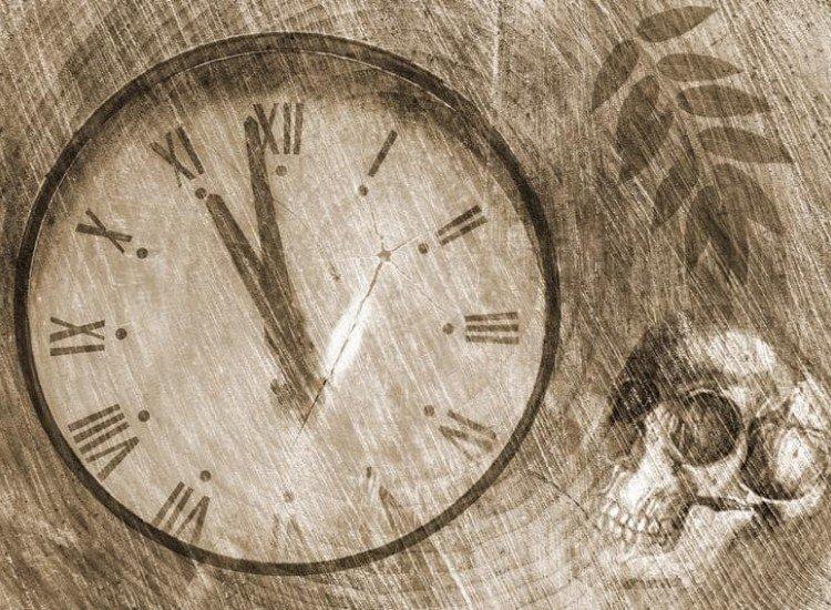 Винтидж фототапети-Фототапет Гръндж фон със стар часовник