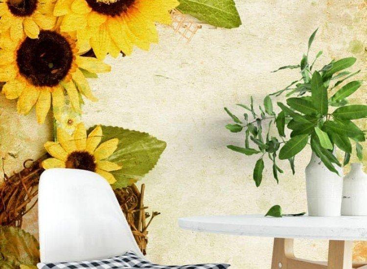 Цветя-Фототапет Гръндж ретро фон със слънчогледи