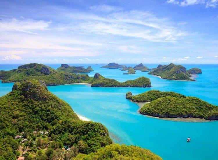 Морски и тропически-Фототапет Птичи поглед към Кох Самуи, Тайланд