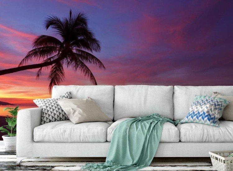 Морски и тропически-Фототапет Тропически залез и палмово дърво