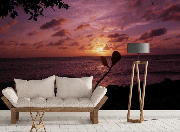Морски и тропически-Фототапет Тъмночервен залез