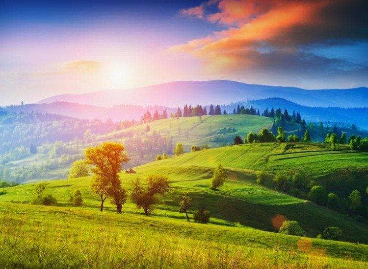 Пейзажи и природа-Фототапет Ранна утрин в Карпатите
