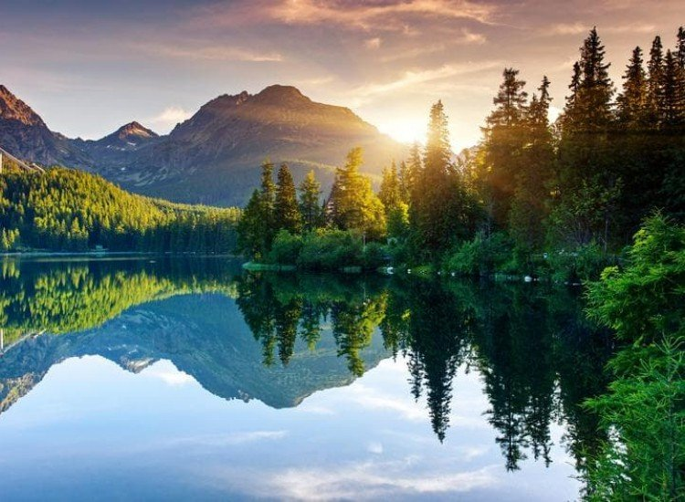Пейзажи и природа-Фототапет Планинско езеро в Словакия