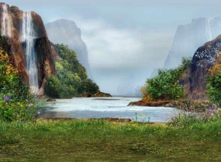 Пейзажи и природа-Фототапет Магически пейзаж с водопад