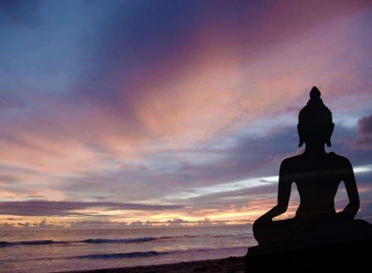 Зен фототапети-Фототапет Силует на Буда по залез