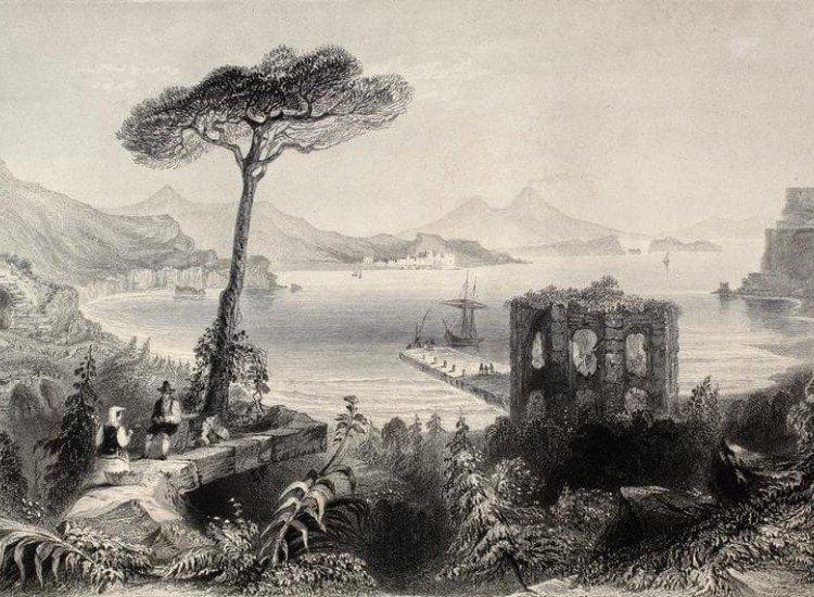 Черно-бели фототапети-Фототапет Илюстрация на Неаполския залив