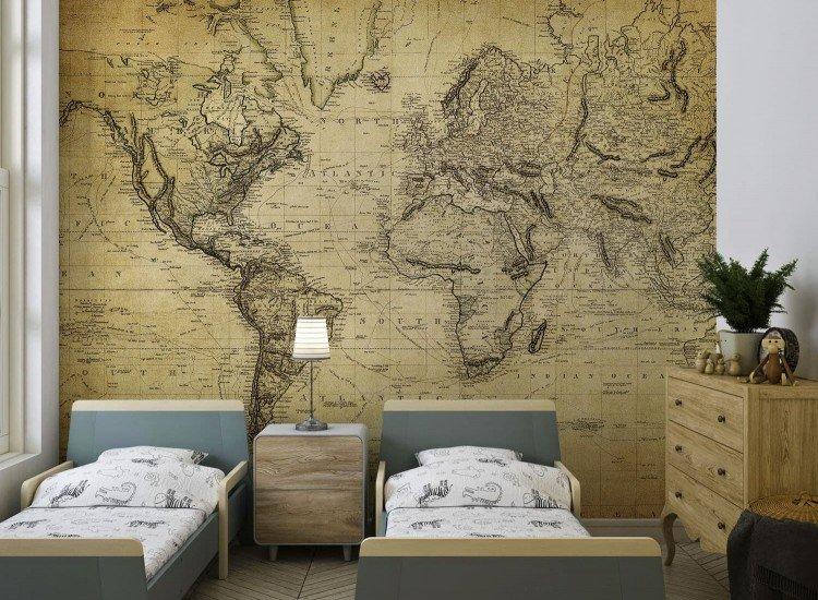 Карти-Фототапет Винтидж карта на света