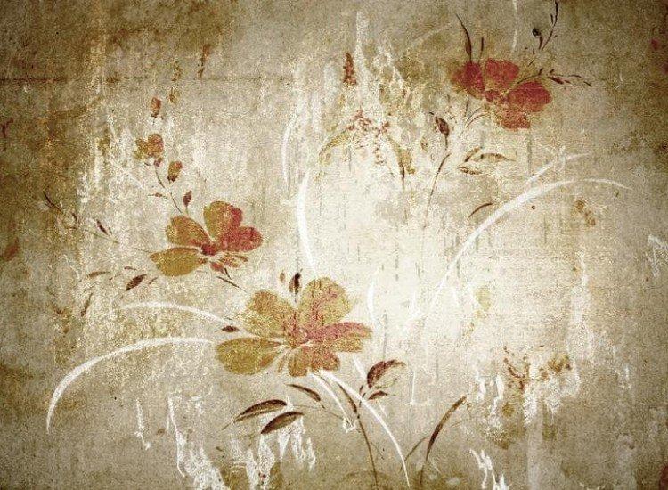 Цветя-Фототапет Винтидж флорална илюстрация