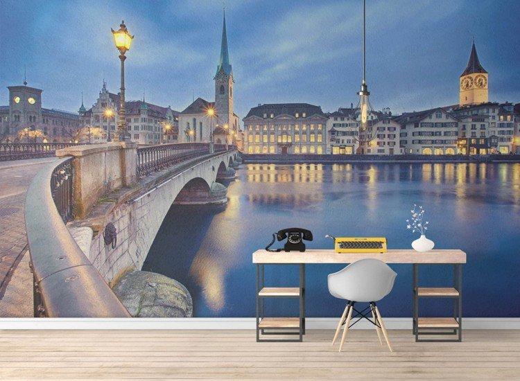Градски пейзажи-Фототапет Нощен Цюрих