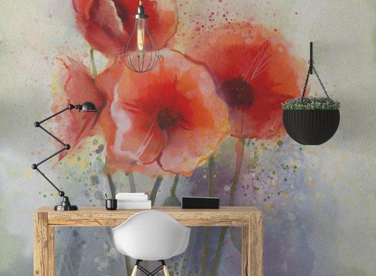 Цветя-Фототапет Акварелни макове