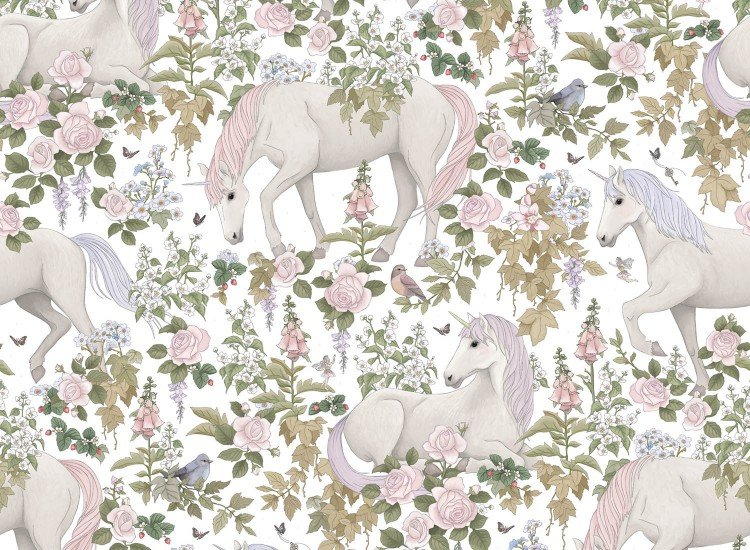 Тапети-Дизайнерски Тапет Unicorn White