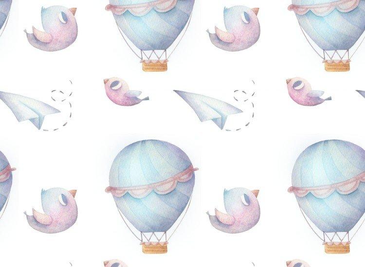 Тапети-Дизайнерски Тапет Hot air balloons Blue