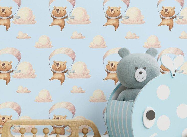 Тапети-Дизайнерски Тапет Teddy Bear Blue