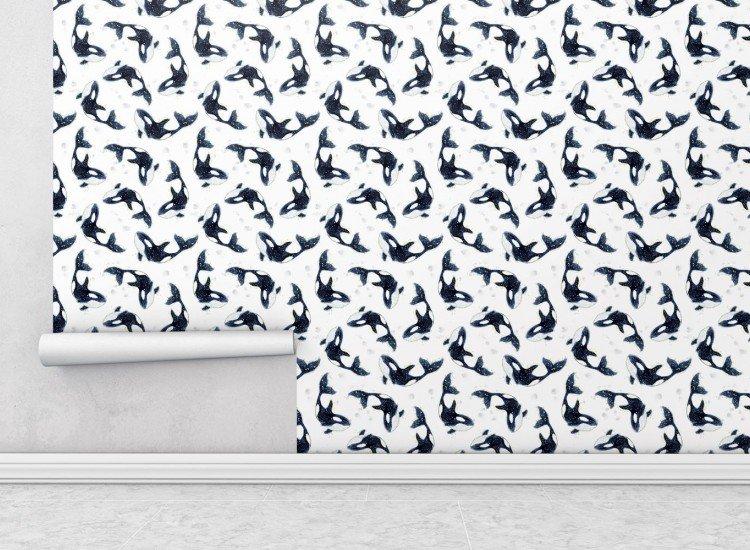 Тапети-Дизайнерски Тапет Dolphins White